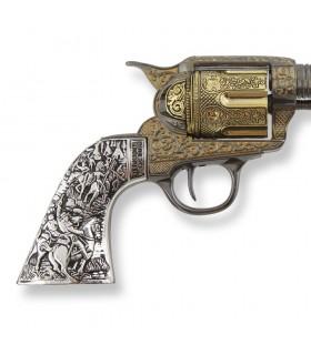 Revólver Colt 45 PeaceMaker corto cachas metal, 27 cms.
