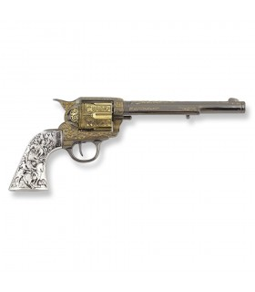 Revólver Colt 45 PeaceMaker largo cachas metal, 27 cms.