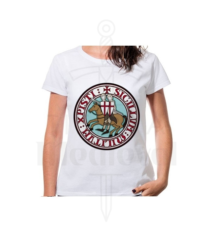 Camiseta Mujer Blanca Caballeros Templarios, manga corta