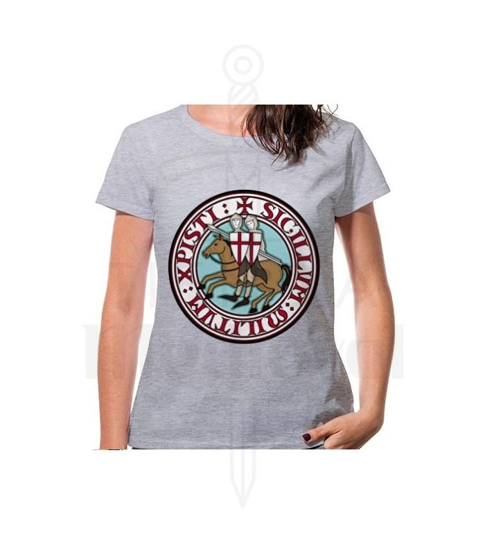 Camiseta Mujer Gris Caballeros Templarios, manga corta