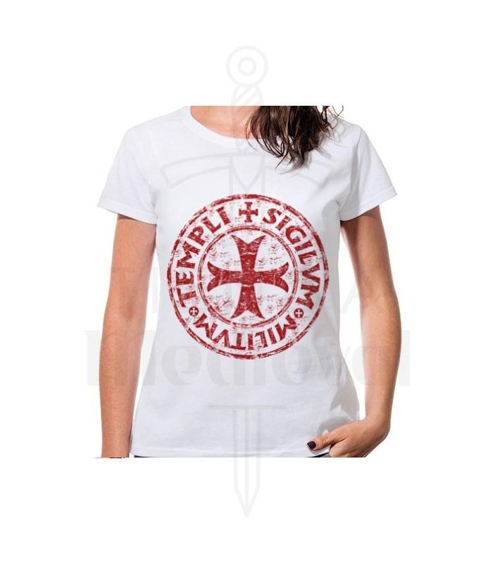 Camiseta Mujer Blanca Cruz Templarios, manga corta