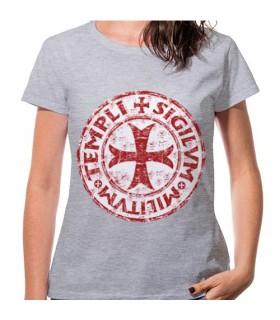Camiseta Mujer Gris Cruz Templarios, manga corta