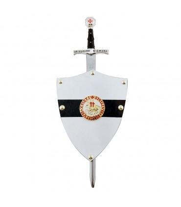 Miniatura escudo y espada Templaria