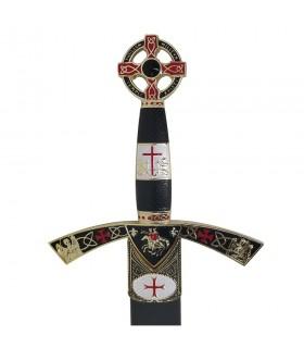 Espada Templaria decorada dorada, con vaina