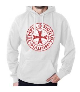 Sudadera Blanca Caballeros Templarios con Capucha