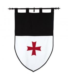 Estandarte Templario, blanco y negro