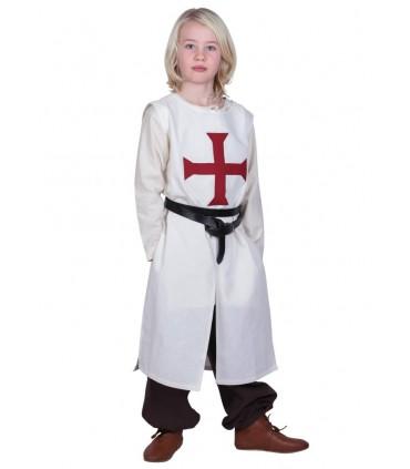 Tabardo niño Templario, blanco natural
