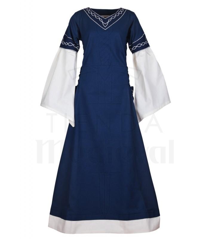 Vestido medieval Alvina, azul-blanco