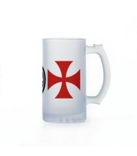 Jarra de Cerveza Caballeros Templarios, cristal translucido