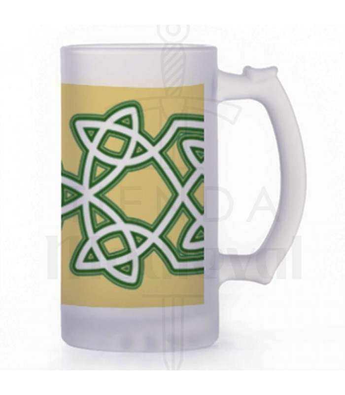Jarra de Cerveza Nudos Celtas, cristal translucido