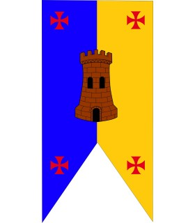 Estandarte Medieval Bicolor Castillo con Cruces