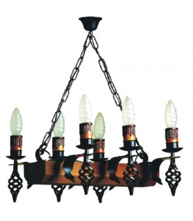 Lámpara forja medieval tronco con brazos