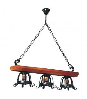 Lámpara forja medieval madera, varias luces