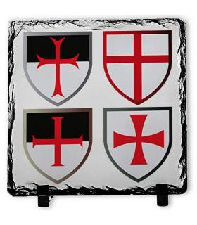 Cruces Caballeros Templarios sobre Piedra de Pizarra (20x20 cms.)