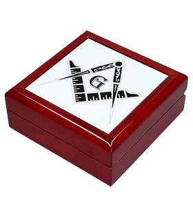 Caja-Joyero símbolos masónicos (13,8x13,8 cm)