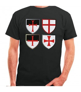Camiseta negra Cruces Templarias, manga corta