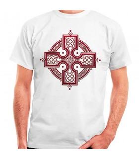 Camiseta blanca Cruz Celta, manga corta