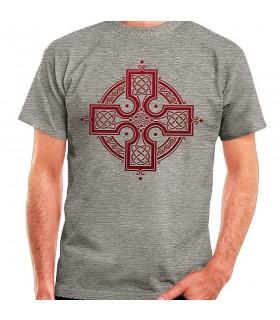 Camiseta Gris Cruz Celta, manga corta