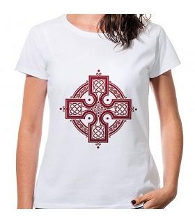 Camiseta Mujer Blanca Cruz Celta, manga corta