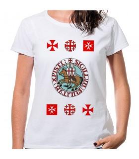 Camiseta Mujer Blanca Templarios con cruces, manga corta