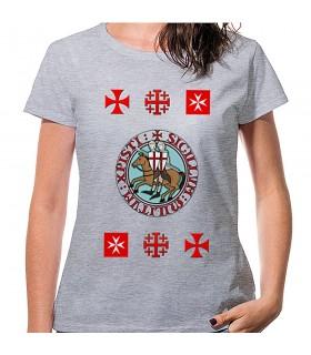Camiseta Mujer Gris Templarios con cruces, manga corta