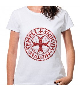 Camiseta Mujer Blanca Cruz y Leyenda Templaria