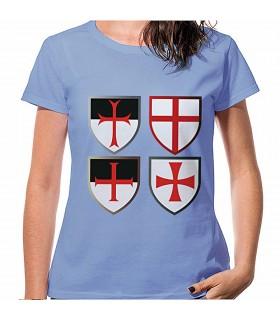 Camiseta Azul Cruces Caballeros Templarios, manga corta