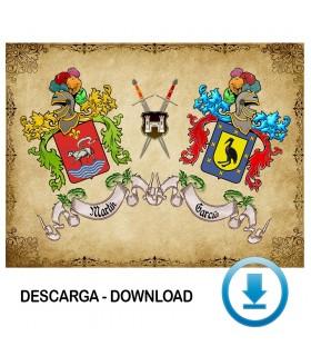 Pergamino Virtual escudo de armas 2 apellidos (sin descripción)