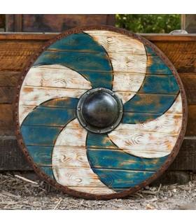 Escudo Celta Thegn Azul-Blanco en látex, 70 cms.