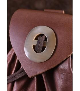 Bolsa Geldkatze medieval cuero marrón con cierre de cuerno