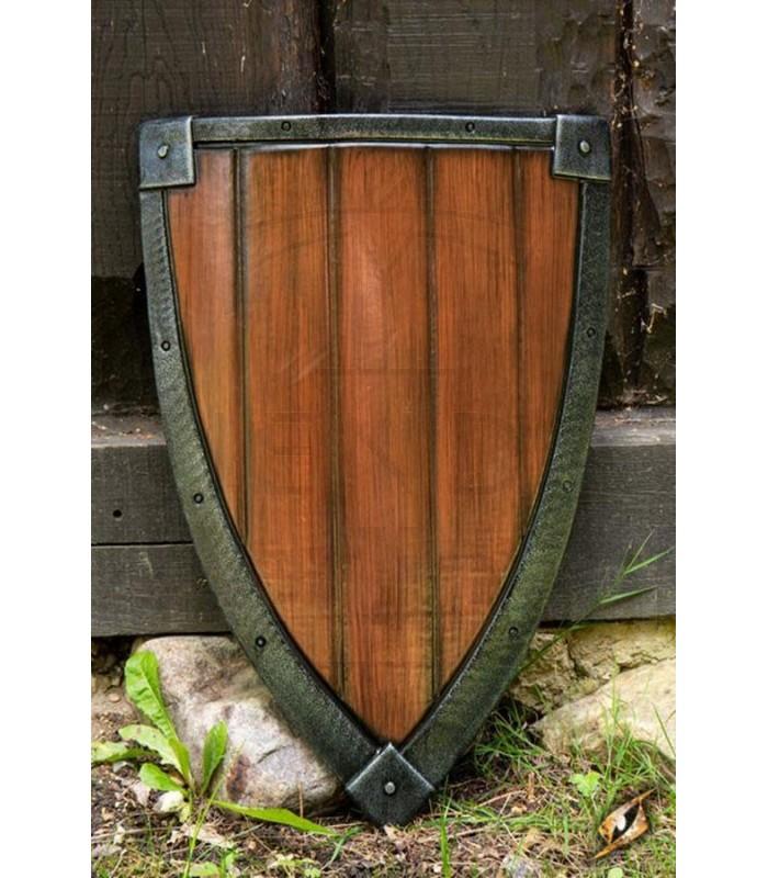 Escudo Cruzados LARP, acabado madera