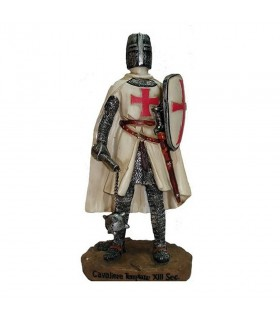 Miniatura caballero Templario con maza y escudo