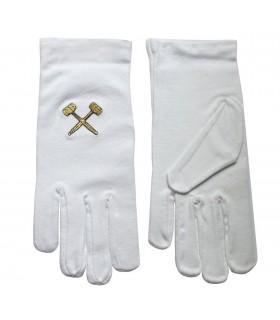 Guantes blancos masónicos con mazos bordados en dorado