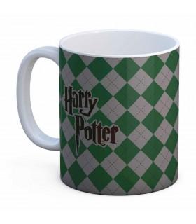 Taza Cerámica Blanca Slytherin de Harry Potter