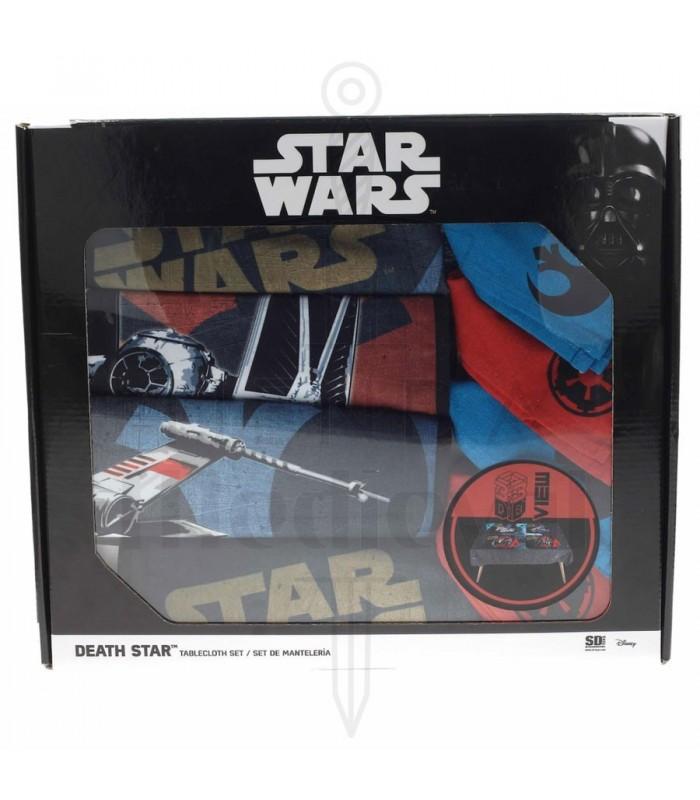 Set mantel, 4 salva-manteles y servilletas Star Wars estrella de la muerte