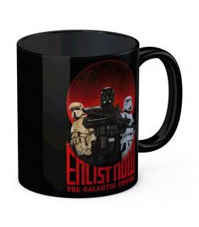 Taza de cerámica Negra Enlist Now de Star Wars
