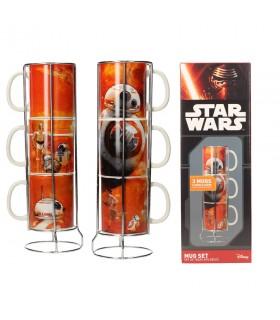 Set de 3 tazas apilables cerámica BB-8 droides de Star Wars. Ep VII