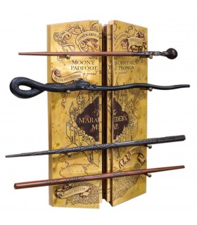 Expositor 4 Varitas con Mapa del Merodeador de Harry Potter