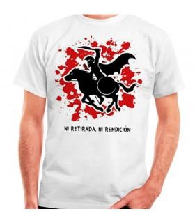 Camiseta blanca Espartano a Caballo: ni retirada, ni rendición