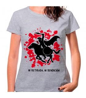 Camiseta de mujer Espartano a Caballo Gris: ni retirada, ni rendición