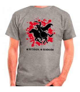 Camiseta Gris Espartano a Caballo: ni retirada, ni rendición