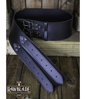 Cinturón medieval ancho Lombard, negro