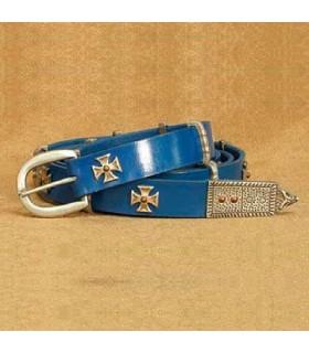 Cinturón Cruz de Malta, cuero azul