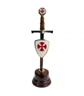 Miniespada con miniescudo de los Cruzados