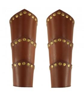 Brazaletes Medievales Arnold en cuero marrón