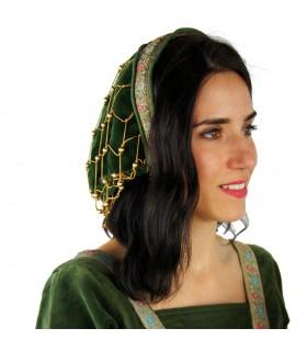 Cofia noble en terciopelo verde