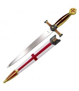Daga medieval Cruz Templaria Roja, acabado rojo