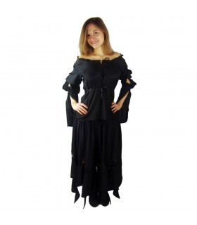 Blusa medieval mangas largas Victoria, negro
