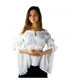 Blusa medieval mangas largas Victoria, blanco