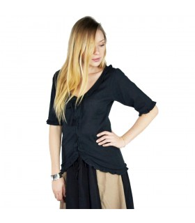 Blusa medieval mujer Bea, color negro